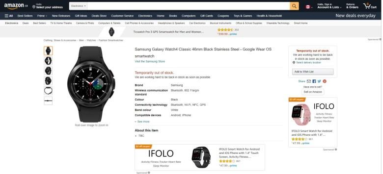 La Galaxy Watch 4 Classic de Samsung est apparue prématurément sur Amazon Canada.