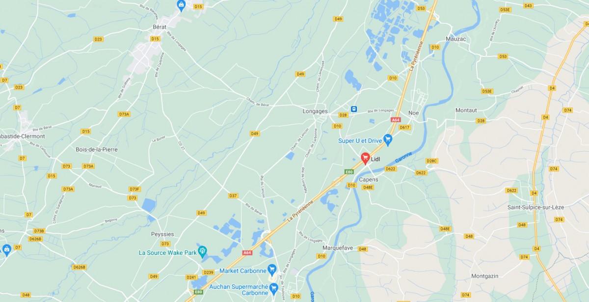 Position du LIDL Capens sur Google Maps