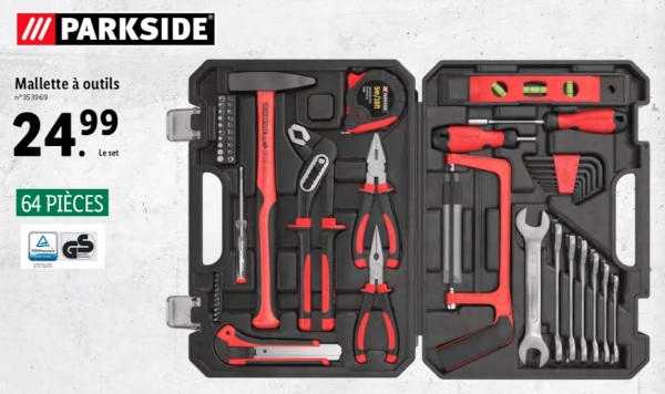 La mallette à outils proposée sur le catalogue LIDL