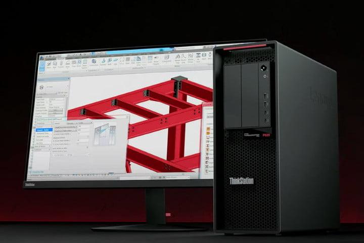 Lenovo ThinkStation P620 à côté d'un moniteur montrant une structure logicielle en 3D.