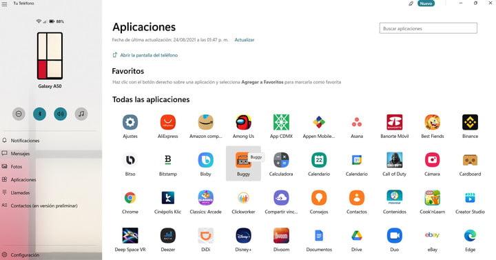 Une capture d'écran de l'application Votre téléphone dans Windows 11