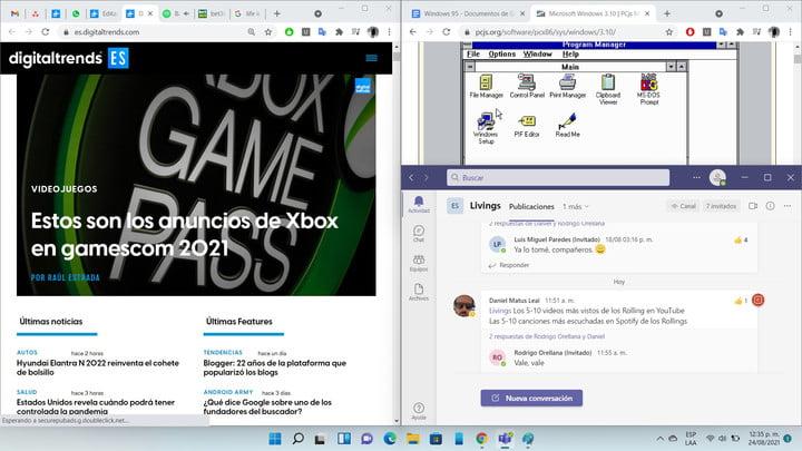 Diverses fenêtres disposées avec l'option de grille de Windows 11.
