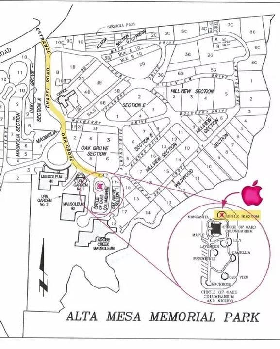 Une carte avec l'emplacement présumé de la tombe de Steve Jobs.