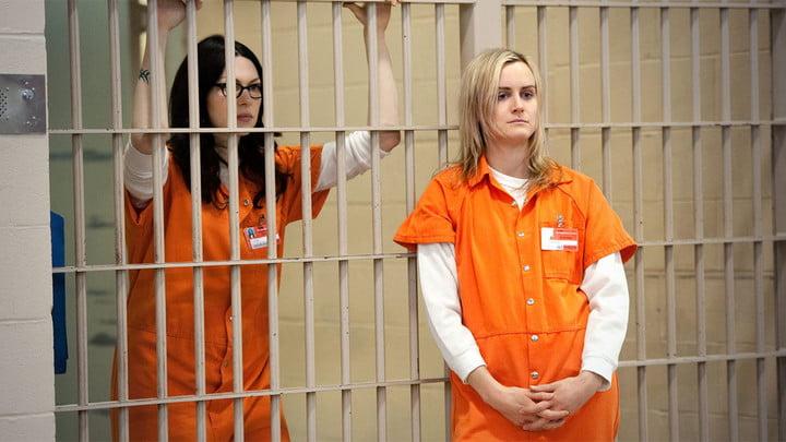 deux femmes en prison habillées d'une combinaison orange