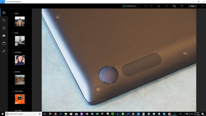 Capture d'écran du programme Photoshop Express
